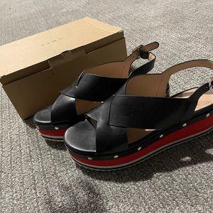Zara Woman Leather Stud Platform Sandals with box